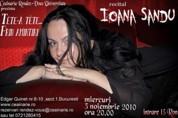 Concert Ioana Sandu la Ceainăria Rendez-vous din Bucureşti