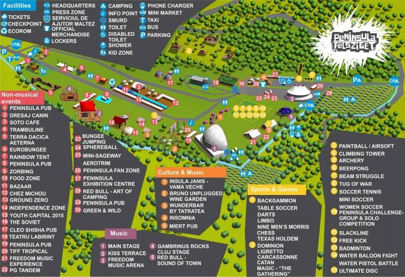 Harta Festivalului Peninsula 2013 de la Cluj Napoca pe Valea Gârbăului