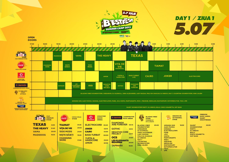 Program B'ESTFEST 2013 - Ziua 1 - 5 iulie