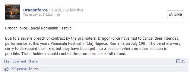 Mesajul transmis de DragonForce fanilor din România