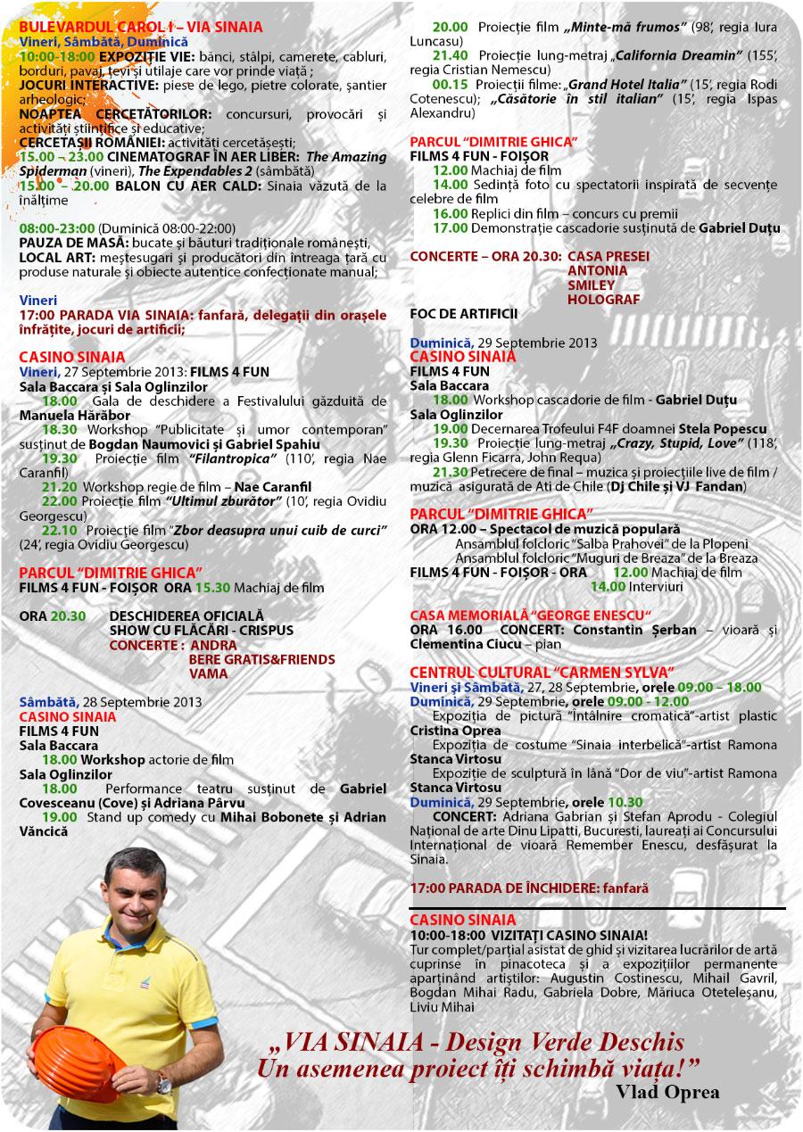 Program Festivalul Sinaia Forever 2013