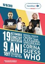 Concerte Corina, Crush & Alexandra Ungureanu şi Guess Who la Carrefour din Braşov