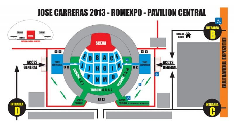 Hartă de acces concert Jose Carreras la Romexpo