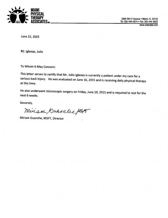 Scrisoare medicală Julio Iglesias
