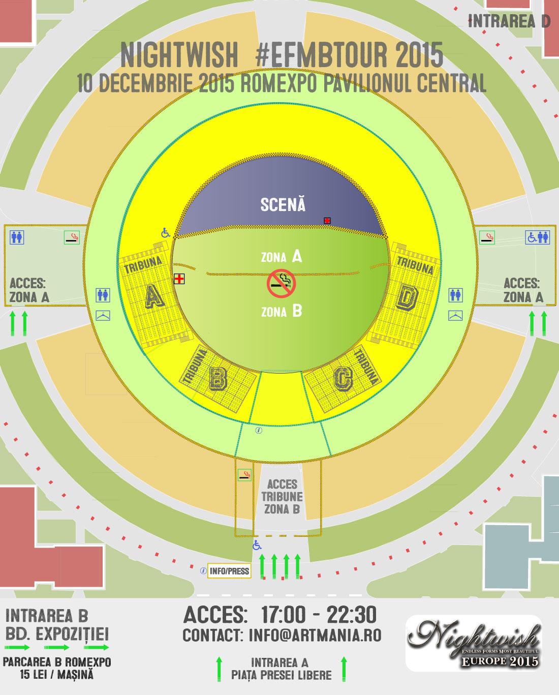 Harta de acces la concertul Nightwish de la Bucureşti