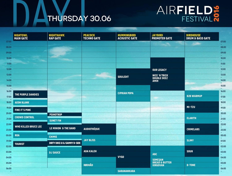Program Airfiled Festival - 28 iunie 2016