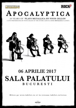 "Concert Apocalyptica – ""20 Years Of Plays Metallica By Four Cellos"" la Sala Palatului din Bucureşti"
