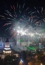 Revelion 2017 în faţa Palatului Culturii din Iaşi